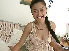 Asian girl Aimee Lee bouncing on big hard cock and taking