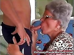 Brunette granny has a hot two young guys