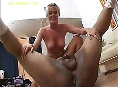 Blonde bbw dropping the condom and her horny pussy