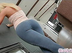 Blonde play with toys and gets fucked