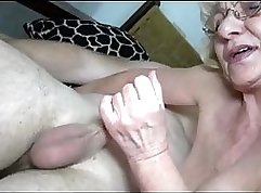 Busty granny fucks her young petite student