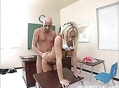 Blonde Cheerleader Getting Creampied