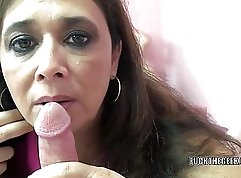 Blondie milf shows her juice ball in the dining table