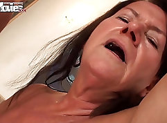 Bodacious mature secretary in orgy fucked by hunk