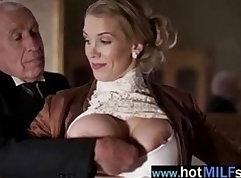 Blonde mature bitch in fishnets sucks huge cock