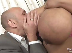 Busty playgirl levitating pussy