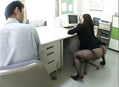 Attractive Japanese chick with hot round ass doggystyled hard
