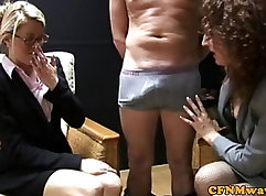 Cfnm submissive giving solejob on eye level