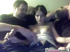 Amateur college couple homemade threesome