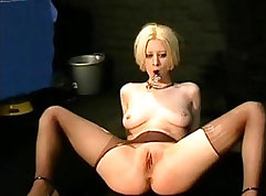 Bald uncut cuffed cock toyed by blondie in extreme BDSM