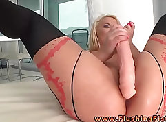 Asian Dildo Triptyching and Fisting Her Pussy