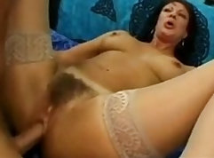 Stockings-wearing chicks showing their sexy legs and get fucked