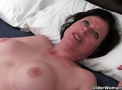 classy milf british mature playing with her pussy