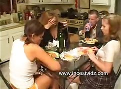 Brunette stepmom together with two young boys masturbates
