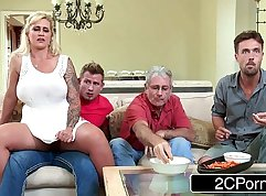 Busty MILF fucked on the kitchen table
