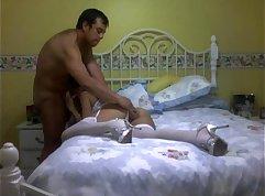 Bosomy slutty latin masseuse rides her clients dick