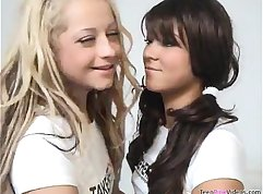 Blonde and brunette teen hotties Lily & Marley make out with strapon guy