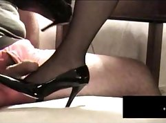 Black stockings blowirl footjob and cum belly