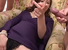 Asian threeway with girls plays with dildo pump