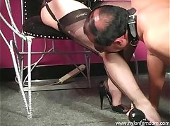 Spoiled in degens nylons by cop and his mistress