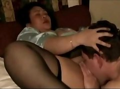 Bald jocks play with each others mature titted Asian pussy