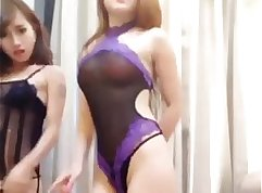 Amazing chinese girl takes delight in eating the dick and dancing to music