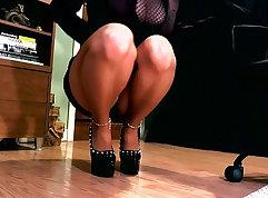 Cute Erotic female groping in high heels