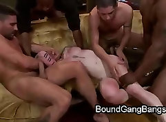 Blindfolded babe gets double penetrated