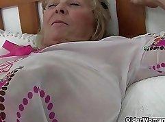 British granny Emily North in corset teasing
